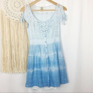 FREE PEOPLE Blue Prairie Mini Embroidered Dress XS